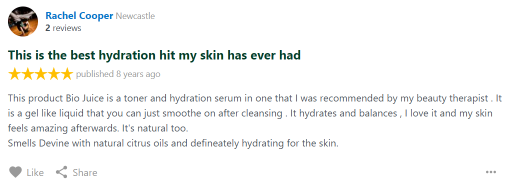 Skin Juice bio juice Review